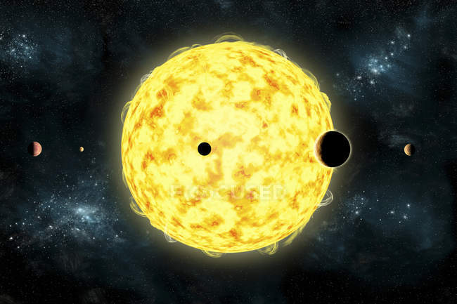 Kepler 444 currently oldest known planetary system in our galaxy — Stock Photo