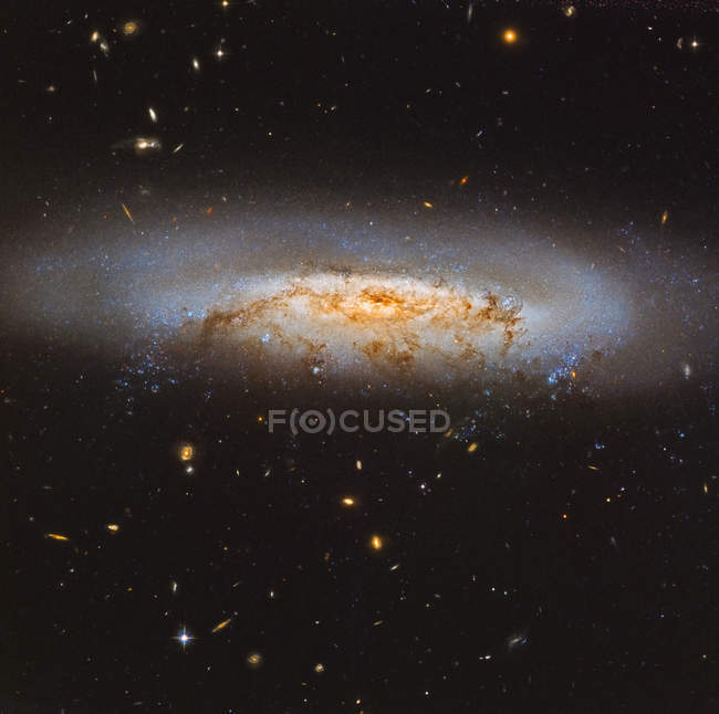 Virgo Cluster galaxy NGC 4522 in true colors in high resolution — Stock Photo