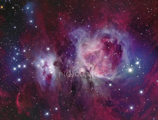 Messier 42 Orion Nebula with reflection nebula NGC 1977 in high resolution — Stock Photo