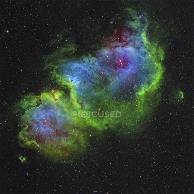 Nebulosa di anima di IC 1848 nel tracciato di Hubble-tavolozza di colore — Foto stock
