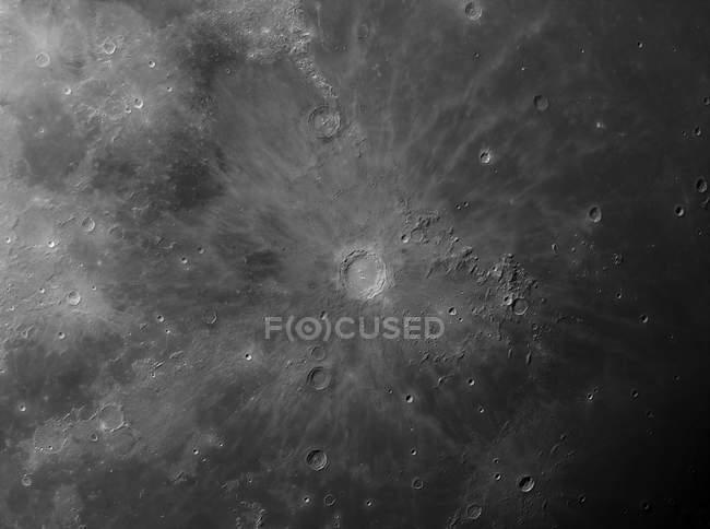 Vista da cratera de impacto Copérnico na lua em alta resolução — Fotografia de Stock