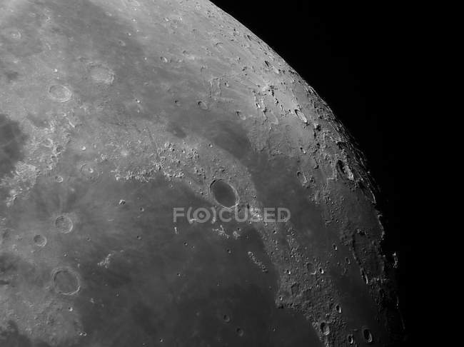 View of moon showing impact crater Plato in high resolution — Stock Photo