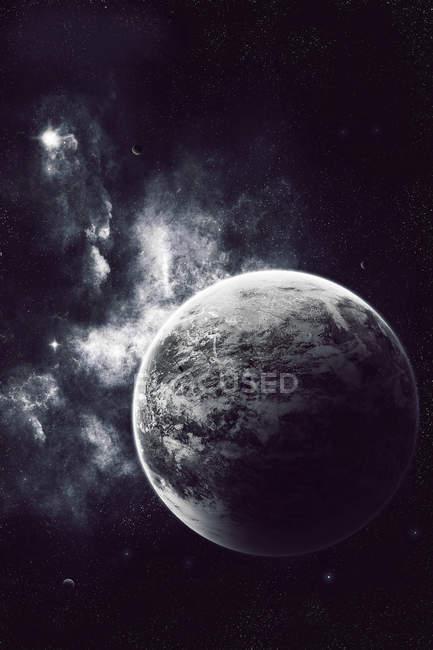 Ветреный планеты с атмосферой в космическом пространстве — стоковое фото