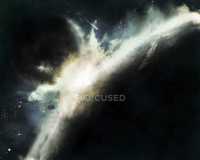 Pianeta spingendo fuori dall'orbita colpisce un altro pianeta — Foto stock