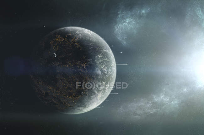 Fleet of colonization ships departing for discovery trip into neighboring solar system — Stock Photo