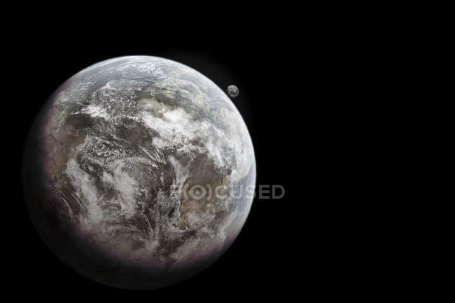 Tierra sin vida y vasto desierto con casi ninguna vegetación sobre fondo negro - foto de stock