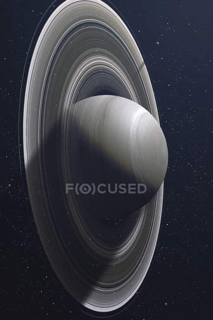 Шестая планета Солнечной системы Сатурн в космическом пространстве — стоковое фото