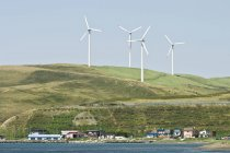 Wind turbines over Soya town, Hokkaido, Japan — Stock Photo