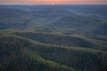 Aerial of Richland Creek Wilderness at sunrise, Ozark Highlands Trail, Arkansas — Stock Photo