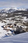 Scenic view of Big Sky resort village in Big Sky, Montana offers the largest skiing in America — Stock Photo
