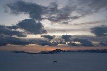 Sunset view form Svartisen glacier on fjords. Norway. — Stock Photo