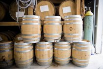 Close up view of finger Lakes Distilling in wooden barrels — Stock Photo