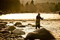 A fly fisherman in action at sunset in Squamish, British Columbia. — Stock Photo