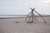Carrinho de madeira ao longo de um trecho deserto de praia de Popham no Maine — Fotografia de Stock