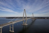 Aerial view of the Arthur Ravenell bridge in Charleston, SC — Stock Photo