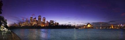 Illuminated Sydney Harbor Bridge And Opera House From Mrs Macquaries Chair — Stock Photo