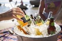 Zugeschnittenen Schuss von Menschen, die Beach-party mit gekühlten Bier im Eiskübel — Stockfoto