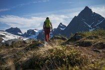 Female hiker hiking trail towards Flakstadtind mountain peak, Norway — Stock Photo