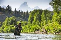 Льоту рибалка на ріці Ventre Gros з Гранд Тітон гори на задньому плані, Джексон Хоул Вайомінг — стокове фото
