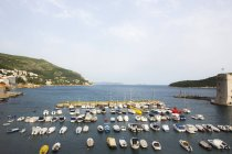High angle view of boats moored at Dubrovnik harbor In Croatia — Stock Photo