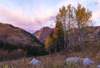 Сонце сходить на гору верхнє осінній день в маленький Каньйон Коттонвуд, штат Юта — стокове фото