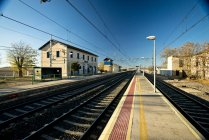 View of empty train station in a small town in Spain — Stock Photo