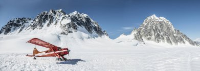 Горнолыжный самолет на ледник в национальном парке Денали — стоковое фото