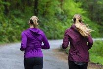 Vue arrière des deux joggeurs femelles en cours d'exécution sur route sous la pluie, Oregon, Usa — Photo de stock