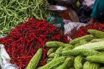 Peperoni verdi e rossi di vendita sul mercato — Foto stock