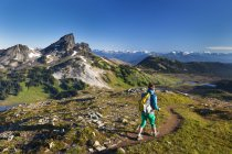 Young woman backpacking on Panorama Ridge Trail with Black Tusk Mountain on background, Canada. — Stock Photo