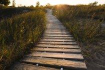 Paseo en el parque estatal Andrae Kohler en Sheboygan, Wisconsin - foto de stock