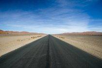 Route de vide dans le désert, le Parc National de Namib Naukluft, Namibie — Photo de stock
