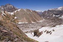 Vale nevado, na Cordilheira dos Andes do Chile — Fotografia de Stock