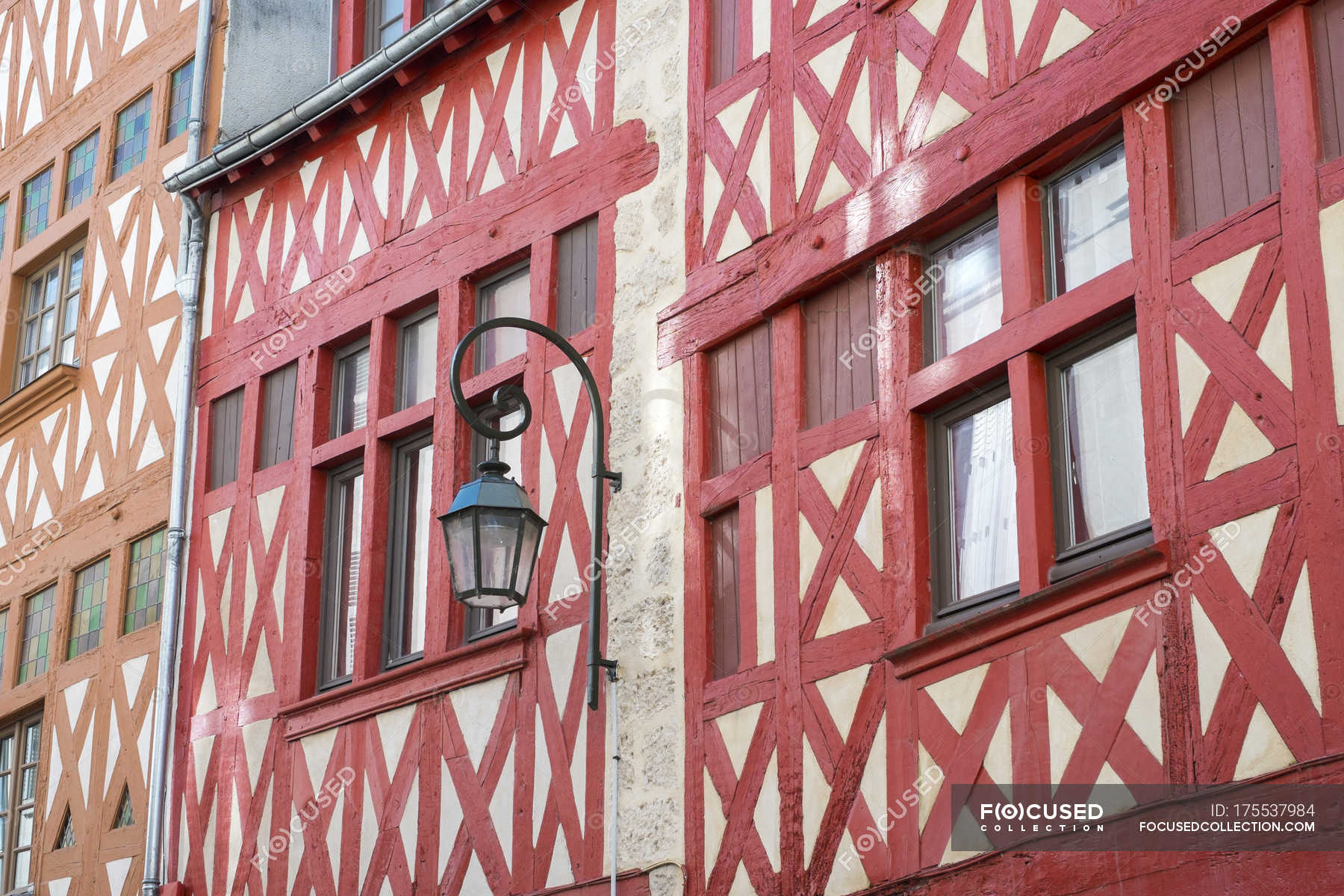 Colorful half-timbered houses in old Orlans, Loiret Department ...