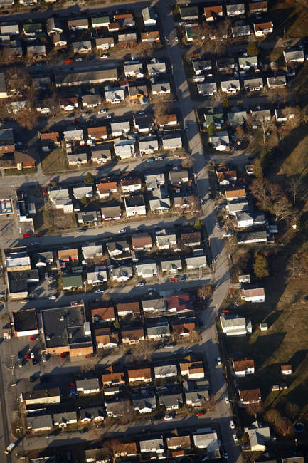 Aerial view of rows of residential houses near downtown Charleston, WV — Stock Photo