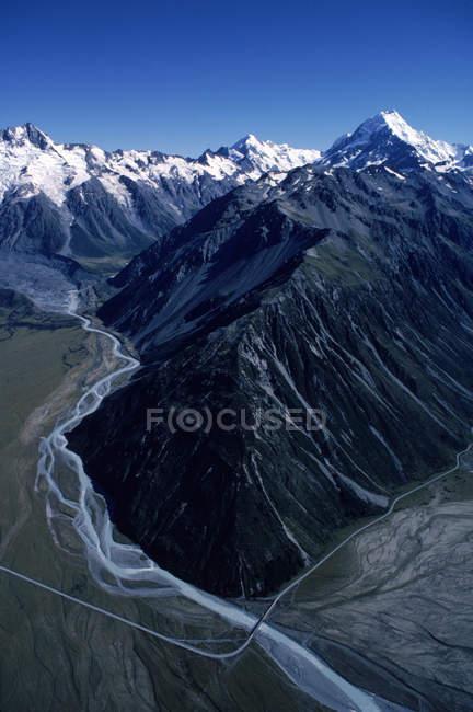 Vista aerea del Parco nazionale di Mount Cook — Foto stock