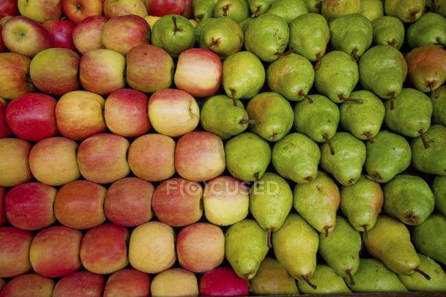 Maçãs vermelhas e verdes peras traçe pilha na barraca de frutas — Fotografia de Stock