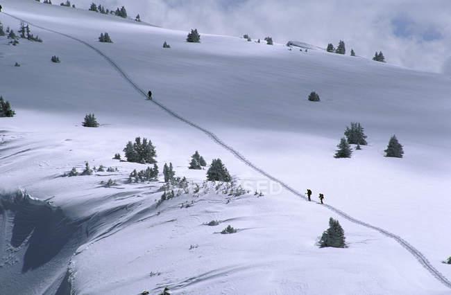 Grupo de caminhantes escalando em montanhas rochosas — Fotografia de Stock