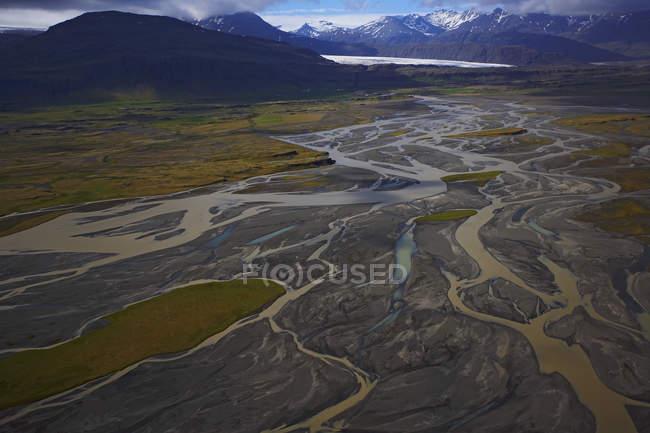 Воздушная выстрел ледниковые реки, переживших Myrdalsjokull ледник — стоковое фото