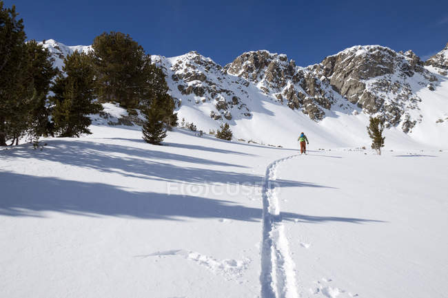 A male backcountry skier skins through fresh snow in the Beehive Basin near Big Sky, Montana. — Photo de stock
