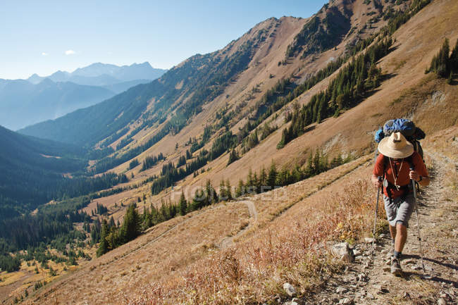 A hiker follows a footbed toward the Twin Lakes from the valley below near Pemberton, British Columbia, Canada. — Stock Photo