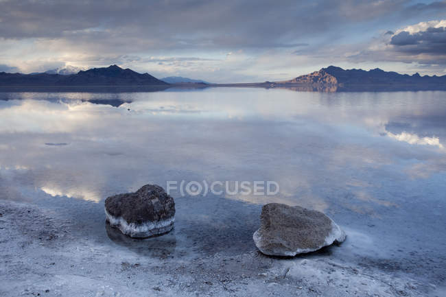 Scenic View Of Salt Flats Near Wendover Utah Are A Surreal Landscape Stock Photo
