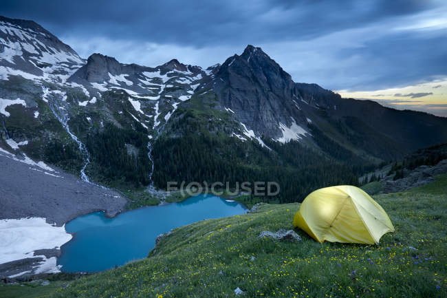Campsite above lower blue lake in Sneffels Wilderness area near Ouray Colorado — Stock Photo