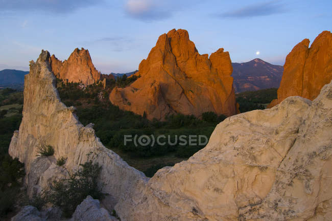 Moonset over Pikes Peak from the Garden of the Gods Park