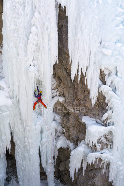 Escalade sur cascade gelée à Ouray Ice Park, Ouray, Colorado de glace homme. — Photo de stock