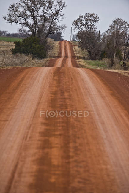 Long stretch of red dirt road in Kentucky, USA — Stock Photo