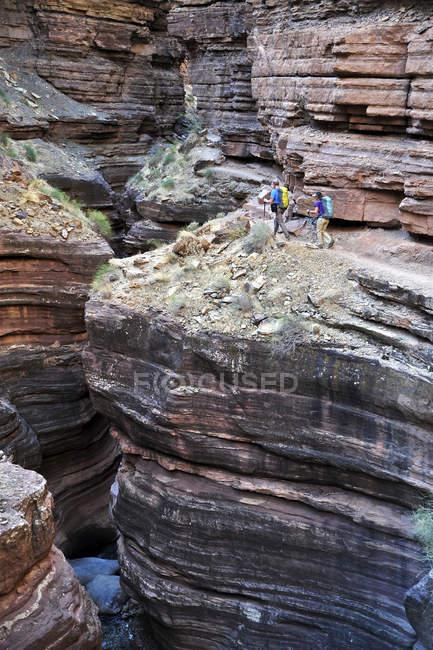 Wanderer Fuß entlang Deer Creek Narrows in den Grand Canyon außerhalb Fredonia, Arizona November 2011. Die 21,4-Meile Schleife beginnt bei der Bill Hall Trailhead am Nordrand und senkt sich 2000-Füße in 2,5 Meilen durch Coconino Sandstein auf der Ebene Es — Stockfoto