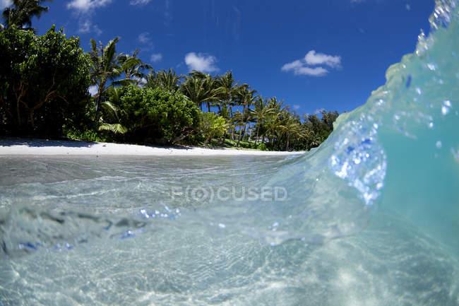 Рівень представлення з води в Kawela bay, на північному березі острова Оаху — стокове фото