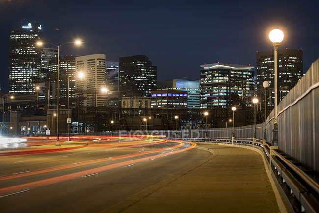 Long exposure looking down 38th Ave. towards Coors Field in Denver, Colorado — Stock Photo