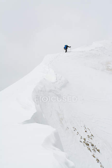 Homme qui marche sur la crête de la tête de lézard pic enneigé, Uncompahgre National Forest, Colorado. — Photo de stock